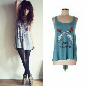 Wildfox Blue Heather Love Is The Answer Tank Top